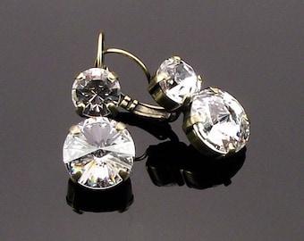 Crystal Bridal Earrings, Swarovski Drop Earrings, Clear Crystal Earrings, Bridal Earrings, Bridesmaid Earrings.