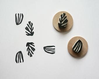Matisse Cut Outs - 01 - Set of Two Hand-Carved Rubber Stamps