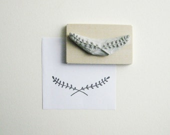 Laurel Branches - Hand-Carved Rubber Stamp