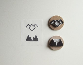 Twin Peaks Symbols Set of Two Hand Carved Rubber Stamps