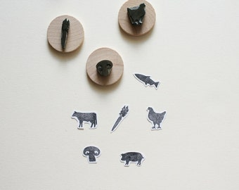 Meal Options Set - Hand-Carved Rubber Stamps - Wedding Party Menu Food Animals