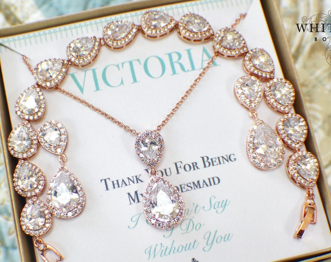 Personalized Bridesmaid Gift | Rose Gold Bridesmaid Jewelry Set | Bridesmaid Necklace Earrings Bracelet Set | Bridesmaid Gifts