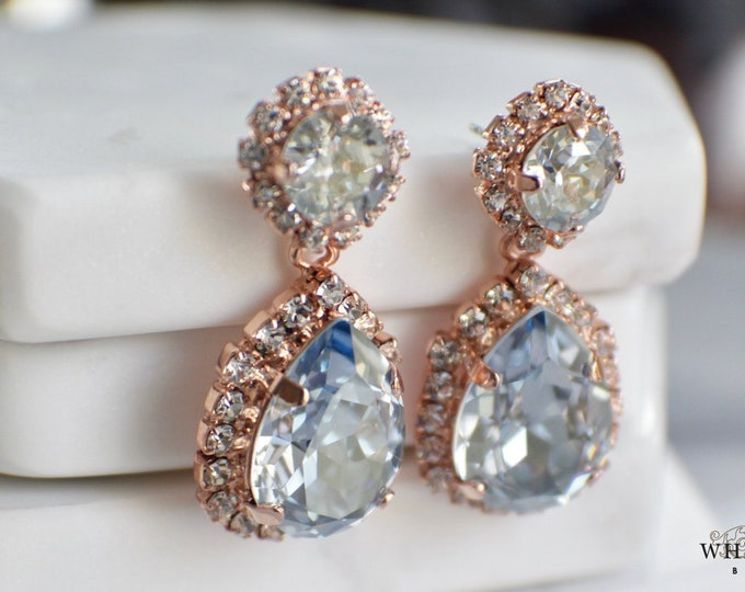 Dusty Blue Bridal Earrings Vintage Style Swarovski Crystal Rose Gold Drop Earrings Light Blue Wedding Statement Earrings
