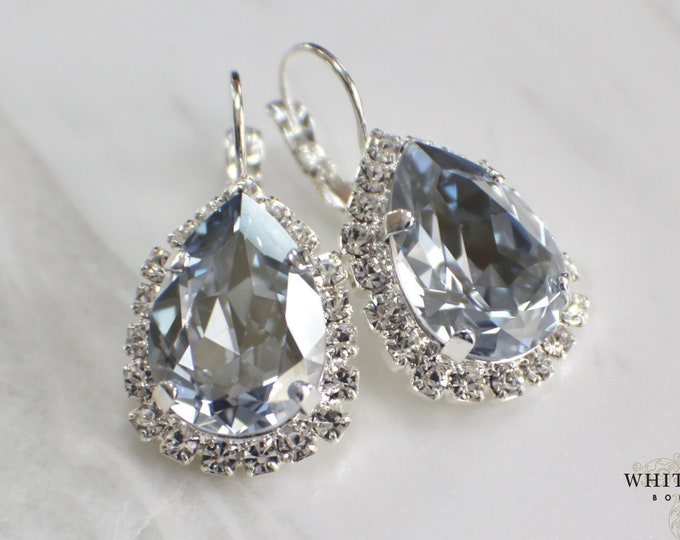 Dusty Blue Bridal Earrings Swarovski Vintage Style French Blue Crystal Earrings Lever Back Dangle Earrings  Light Blue Wedding Earrings