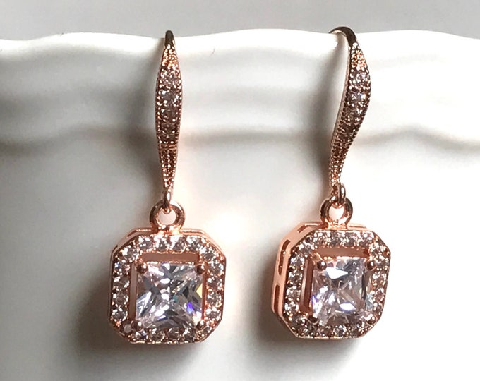 Rose Gold Bridal Earrings Wedding Jewelry Cushion Cut Vintage Inspired Cubic Zirconia Earrings Wedding Jewelry Bridesmaids Jewelry
