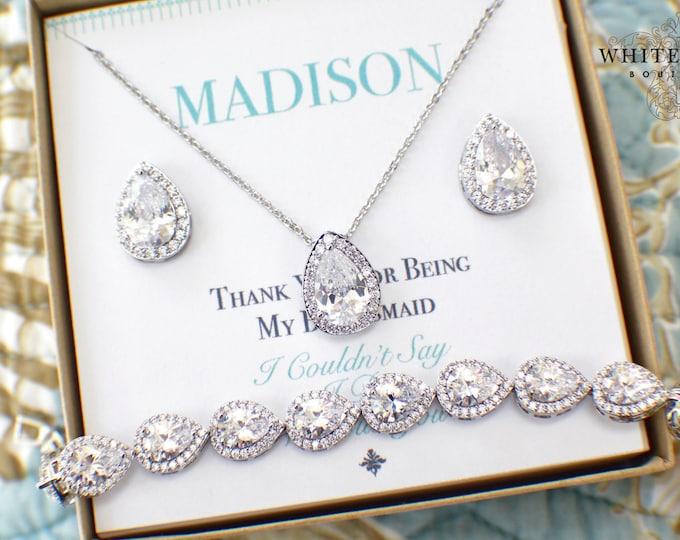 Bridesmaid Gift | Silver Bridesmaid Jewelry | Bridesmaid Jewelry Set | Personalized Bridesmaid Gifts | Bridesmaid Earrings Bracelet Set