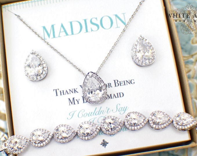 Bridesmaid Jewelry Set | Bridesmaid Gift | Silver Bridesmaid Jewelry | Personalized Bridesmaid Gifts | Bridesmaid Earrings Bracelet Set