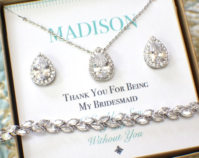 Silver Bridesmaid Jewelry Set | Personalized Bridesmaid Gift | Bridesmaid Earrings Necklace Bracelet Set | Bridesmaid Gifts