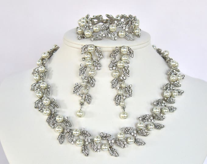 Crystal Pearl Bridal Jewelry Set Wedding Necklace Bracelet Earrings Set Vintage Style Evening Special Occasion Jewelry