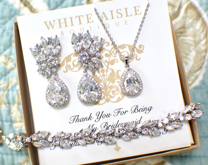 Silver Bridal Jewelry Set | Bridesmaid Jewelry Set | Cubic Zirconia Jewelry | Bridal Necklace | Bridal Earrings | Bridal Bracelet