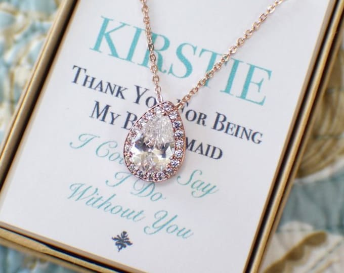 Rose Gold Bridesmaid Jewelry Set, Personalized Bridesmaid Gift, Bridesmaid Earrings and Necklace Bracelet Set, Bridesmaid Gifts