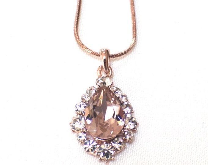 Custom Blush Rose Gold Bridal Jewelry Set Swarovski Crystal Pendant Earrings Bracelet Hair Comb Hair Pins Art Deco Wedding Jewelry