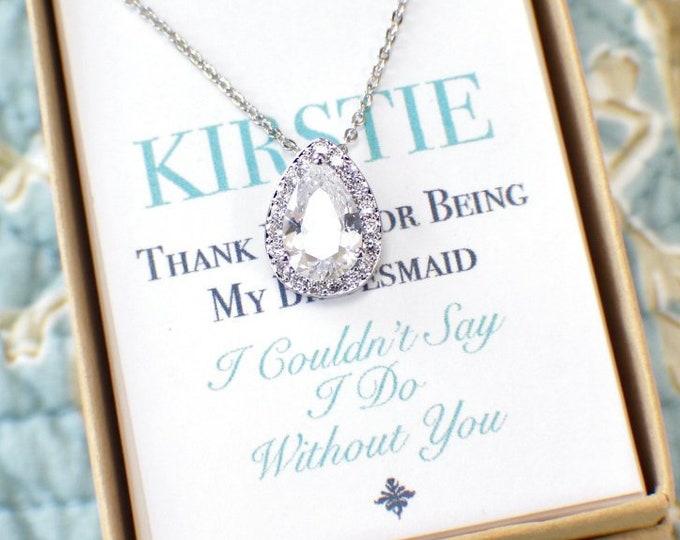 Bridal Pendant Personalized Bridesmaids Gifts Vintage Style Wedding Cubic Zirconia Necklace Earrings Bracelet Set