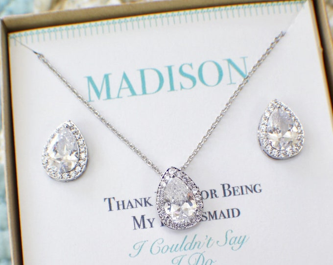 Personalized Bridesmaid Gift Set, Bridesmaid Necklace Earrings Bracelet Set, Bridesmaid Gift, Bridal Jewelry, Bridesmaid Jewelry,