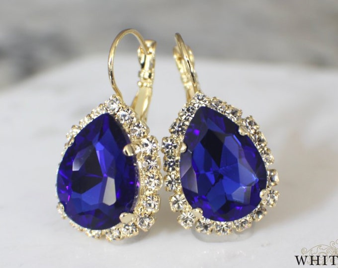 Sapphire Blue Bridal Earrings Holiday Earrings Swarovski Crystal Lever Back Earrings Vintage Style Gold Crystal Wedding Earrings