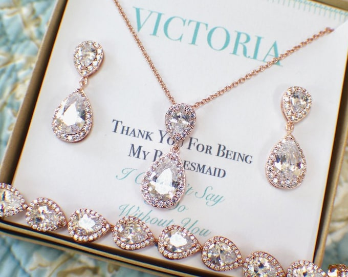Rose Gold Bridesmaid Jewelry Set | Bridesmaid Sets | Bridesmaid Gifts | Personalized Gift | Bridesmaid Necklace Earrings Bracelet Set