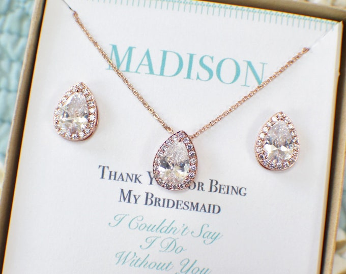 Rose Gold Bridesmaid Sets | Bridesmaid Jewelry | Personalized Bridesmaid Gifts | Bridesmaid Earrings | Bridal Jewelry Set | Wedding Jewelry