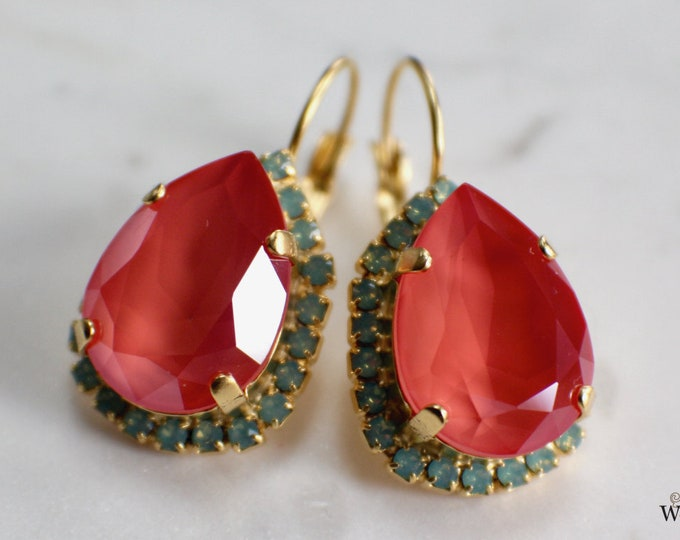 Coral Bridal Earrings Vintage Style Swarovski Crystal Gold Wedding Statement Earrings Special Occasion Jewelry Bridal Jewelry