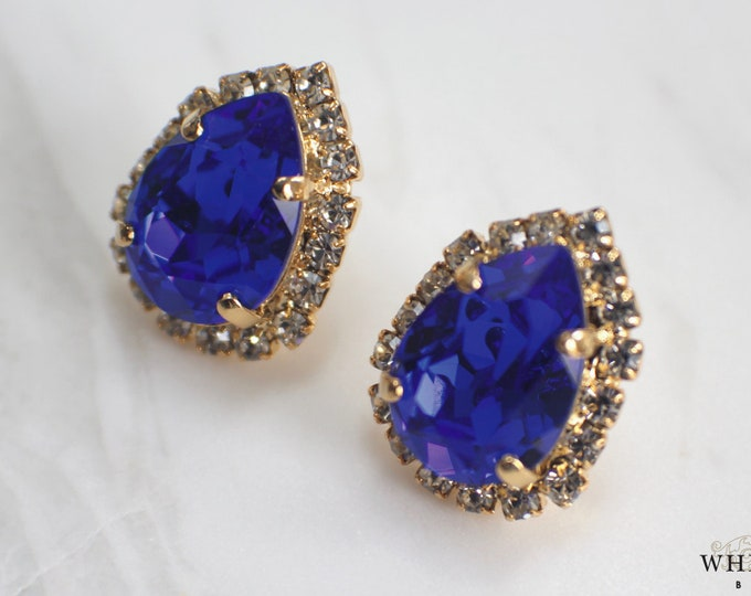 Royal Blue Bridal Stud Earrings Vintage Style Swarovski Crystal Pear Shaped Wedding Earrings Gold Statement Earrings