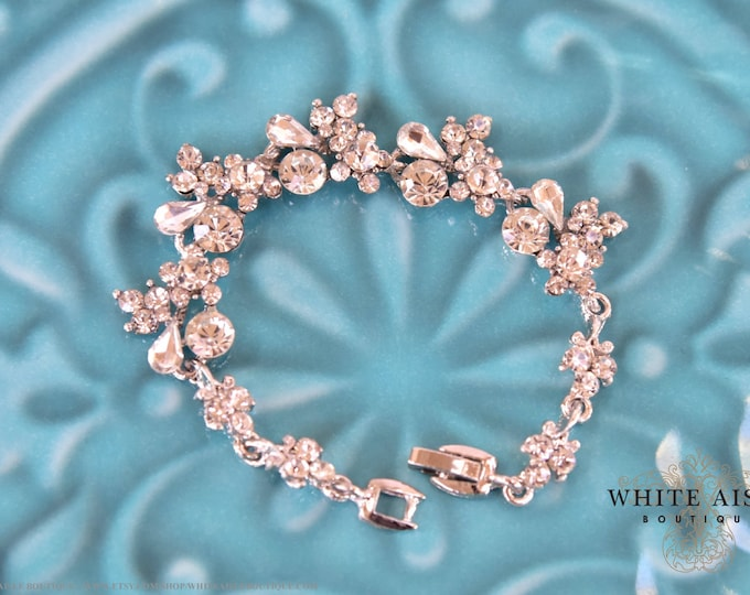 Crystal Bridal Bracelet Vintage Style Wedding Bracelet Bridesmaids Bridal Party Gifts Special Occasion Jewelry