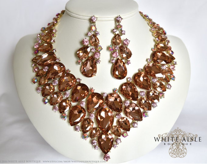 Peach Crystal Bridal Jewelry Set, Statement Necklace, Back Drop Necklace, Vintage Style Wedding Necklace Earrings, Chunky Necklace