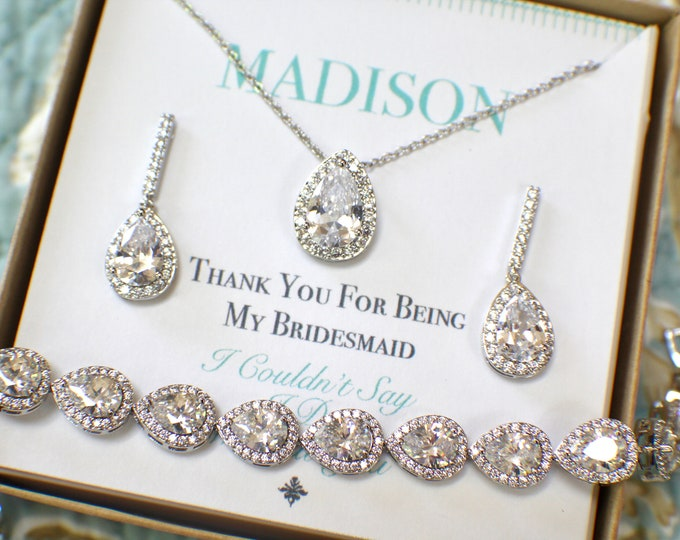Bridesmaid Jewelry Set Silver | Personalized Bridesmaid Gift | Bridesmaid Earrings Necklace Bracelet Set | Bridesmaid Gifts