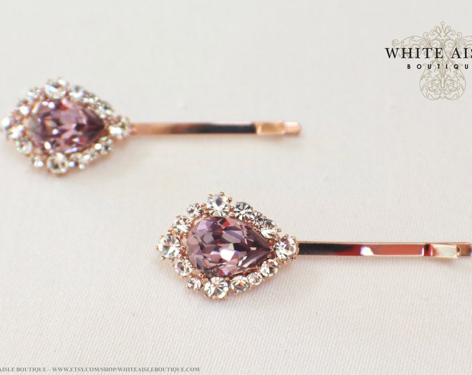 Antique Pink Rose Gold Bridal Jewelry Set Custom Swarovski Crystal Pendant Earrings Bracelet Hair Comb Hair Pins Art Deco Wedding Jewelry
