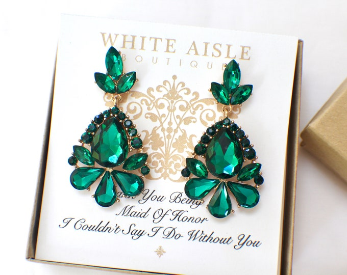 Emerald Green Crystal Earrings Bridesmaids Gift  Wedding Jewelry Vintage Style Bridal Bridesmaids Bridal Party Gifts