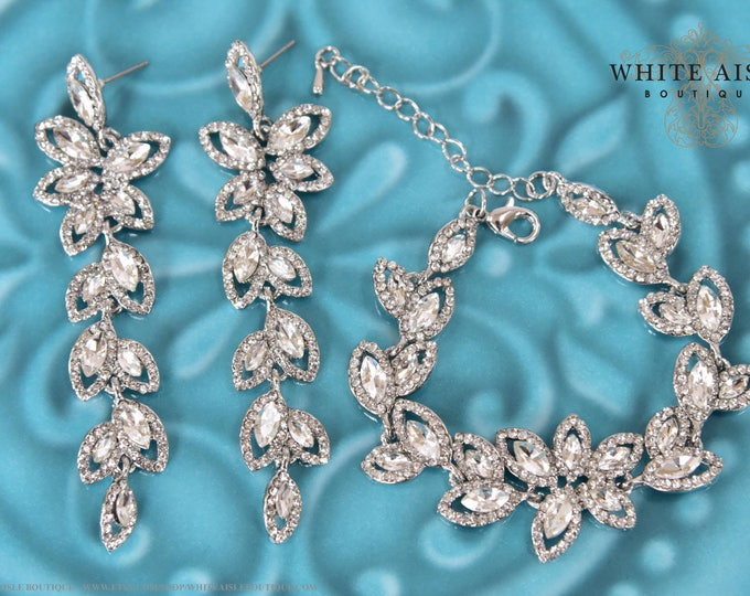 Vintage Style Crystal Bridal Bracelet Earrings Set Wedding Jewelry Set Evening Special Occasion Long Chandelier Statement Earrings