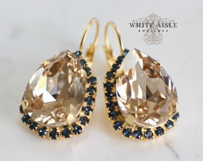 Champagne Bridal Earrings Vintage Style Navy Blue Swarovski Crystal Gold Wedding Statement Earrings Special Occasion Jewelry Bridal Jewelry