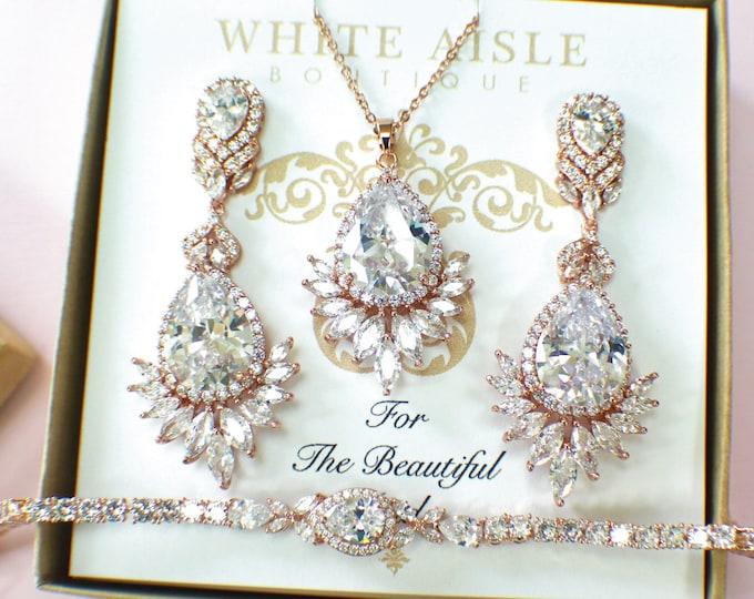 Rose Gold Bridal Jewelry Set | Bridesmaid Jewelry Set | Cubic Zirconia Set | Bridal Necklace | Bridal Earrings | Bridal Bracelet
