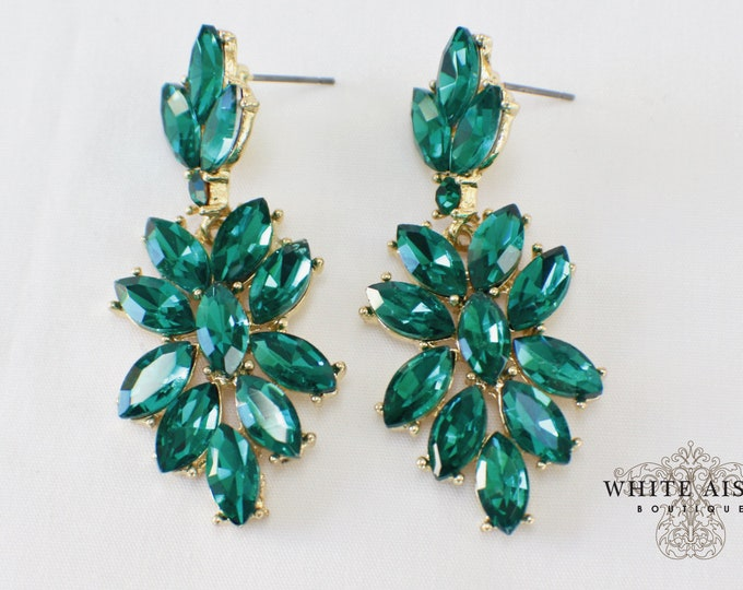 Vintage Style Emerald Green Earrings Bridesmaids Gift  Wedding Jewelry Chandelier Earrings Bridal Bridesmaids Bridal Party Gifts