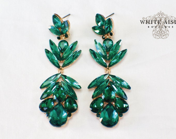 Vintage Style Earrings Emerald Green Crystal Earrings Bridesmaids Gift  Wedding Jewelry Vintage Style Bridal Bridesmaids Bridal Party Gifts