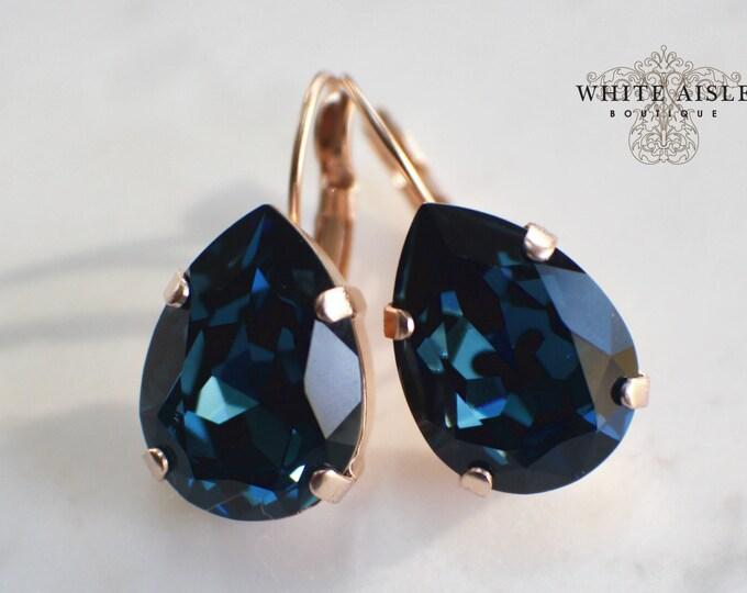 Navy Blue Bridal Earrings Swarovski Crystal Rose Gold Earrings Vintage Style Crystal Bridal Earrings Bridesmaids Gifts Wedding Jewelry