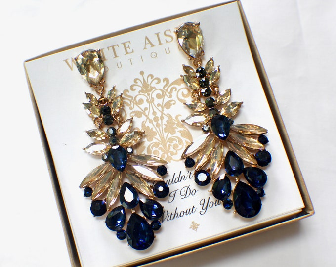 Navy Blue Bridesmaid Earrings Champagne Chandelier Earrings Bridesmaids Gift  Wedding Jewelry Vintage Inspired Bridal Party Gifts