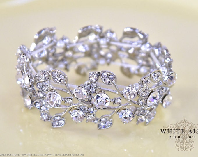 Crystal Bridal Stretch Bracelet Vintage Style Wedding Bracelet Special Occasion Jewelry Bridesmaids Bridal Party Gifts