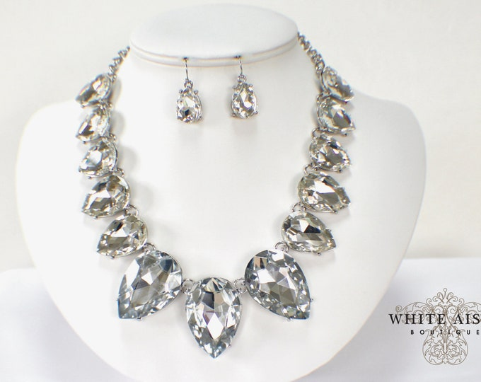 Crystal Bridal Jewelry Set Teardrop Wedding Necklace Earrings Set Vintage Style Statement Necklace Earrings Special Occasion Jewelry