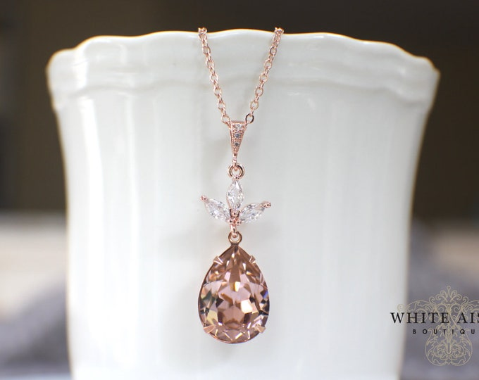 Custom Blush Rose Gold Bridal Pendant Earrings Bracelet Set Vintage Style Sworovski Crystal Wedding Jewelry Set