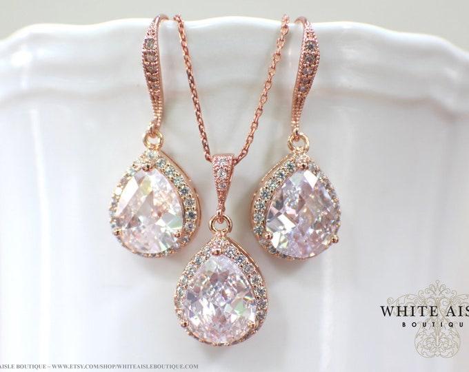 Custom Rose Gold Bridal Jewelry Set Cubic Zirconia Pendant Earrings Bracelet Set Crystal Wedding Jewelry Set Bridesmaid Gift
