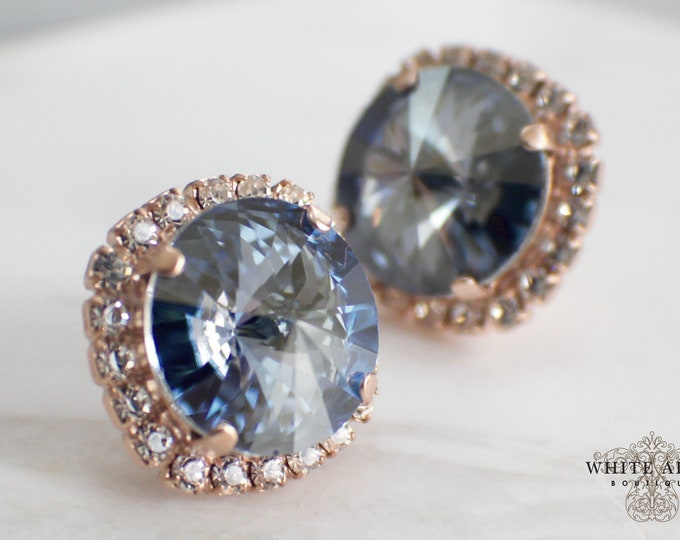 Dusty Blue Bridal Stud Earrings Swarovski Crystal Wedding Earrings Vintage Style Rose Gold Stud Earrings Bridesmaid Special Occasion Jewelry