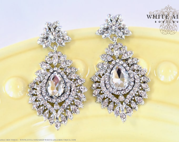 Crystal Wedding Statement Earrings Bridal Statement Earrings Vintage Style Dangle Earrings Special Occasion Bridesmaids Bridal Party Gifts