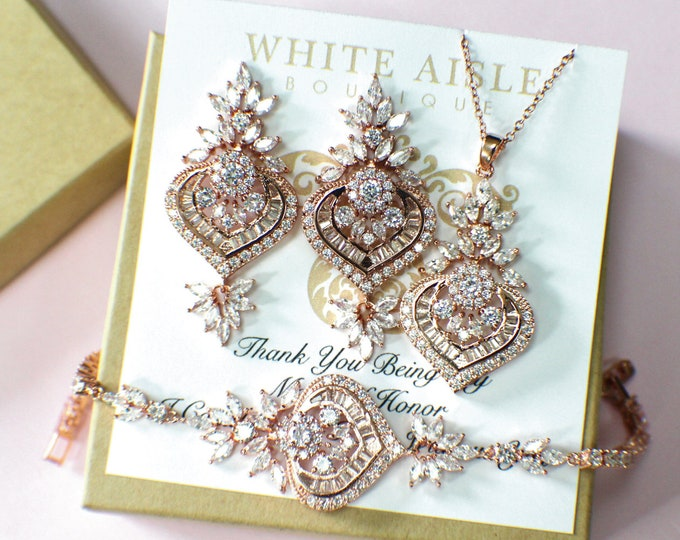 Rose Gold Bridal Jewelry Set | Bridesmaid Jewelry Set | Cubic Zirconia Jewelry | Bridesmaid Necklace | Bridesmaid Earrings | Bracelet