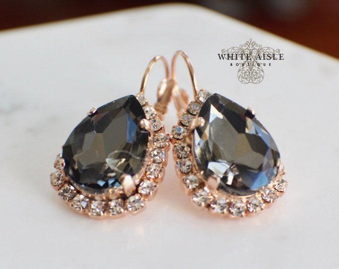 Black Rose Gold Bridal Earrings Swarovski Crystal Wedding Earrings Vintage Style Statement Earrings Special Occasion Jewelry