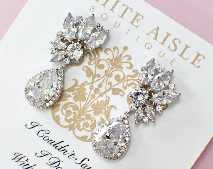 Bridesmaid Earrings | Bridesmaid Gifts | Bridesmaid Jewelry | Cluster Earrings | Personalized Gifts | Chandelier Earrings