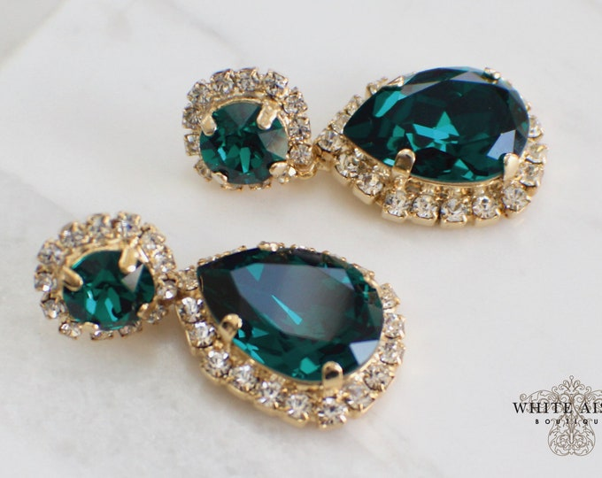 Emerald Green Bridal Earrings Vintage Style Swarovski Crystal Gold Drop Earrings Wedding Statement Earrings Special Occasion Jewelry
