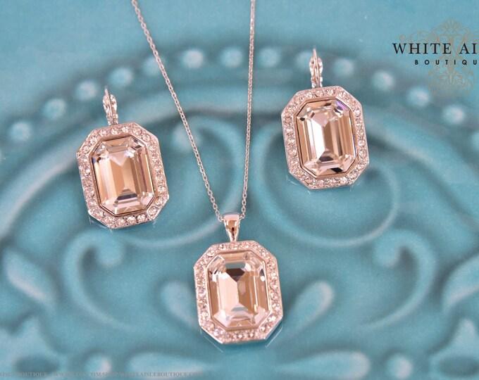 Custom Bridal Jewelry Set Emerald Cut Swarovski Crystal Pendant Earrings Set Vintage Style Wedding Jewelry Set Special Occasion Jewelry