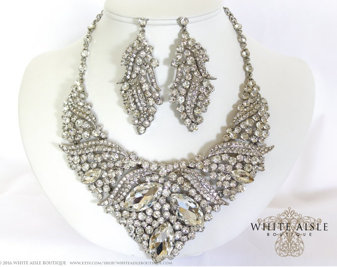 Bridal Jewelry Set, Crystal Necklace, Vintage Inspired Necklace, Chunky Necklace, Rhinestone Necklace, Bridal Earrings