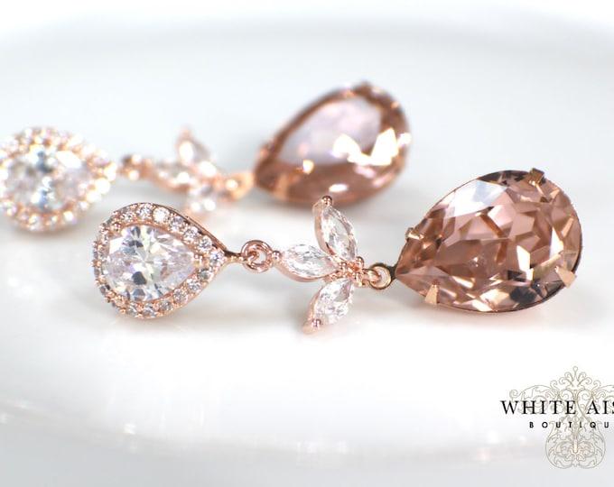 Blush Rose Gold Bridal Earrings Vintage Style Swarovski Crystal Dangle Statement Wedding Earrings Bridesmaid Jewelry