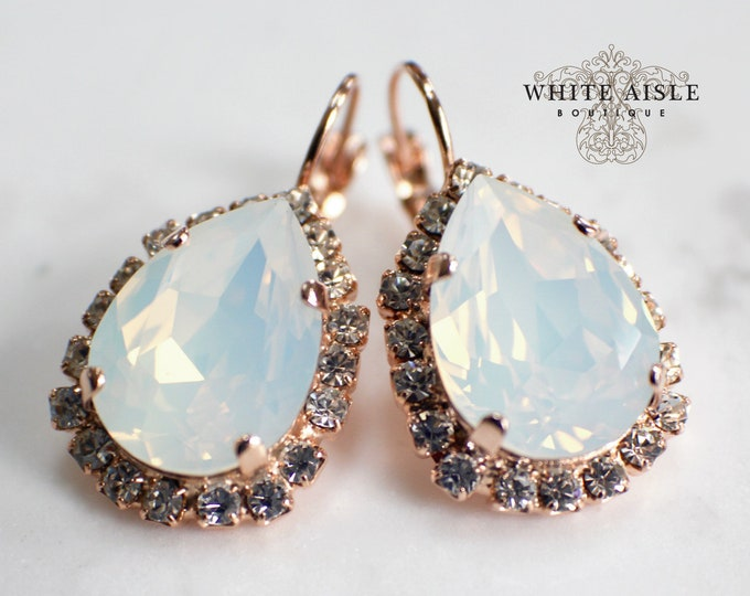 White Opal Bridal Earrings Vintage Style Rose Gold Swarovski Crystal Wedding Earrings Special Occasion Jewelry