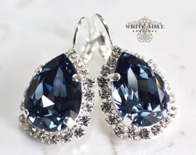 Blue Bridal Earrings Vintage Style Swarovski Crystal Wedding Earrings Lever Back Earrings Bridesmaids Gift Special Occasion Jewelry